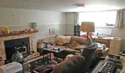 Chaos in basement before staging by Debra Gould