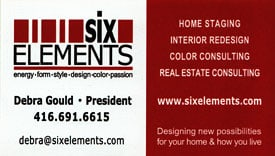 Six Elements Home Staging Business Card