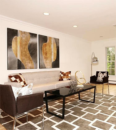 home staging transformation living room by Lori Carbone