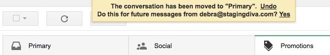 Gmail whitelist message